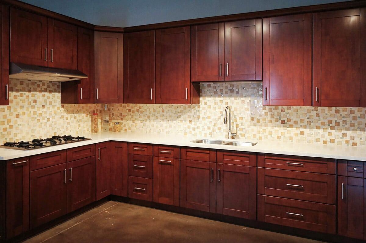 Mahogany Shaker RTA Cabinets - Cabinet City Kitchen and Bath