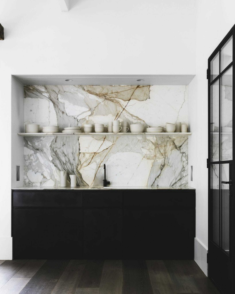 Marble Wall Kitchen With Black Fixtures