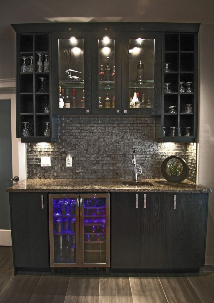 Cabinet Bar Well Stocked Home Bar
